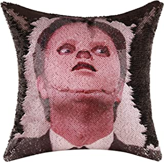 Merrycolor The Office Throw Pillow Cover Dwight Schrute Mask Sequin Pillowcase Mermaid Decorative Cushion Cover Funny Gifts 16 X 16 Inch