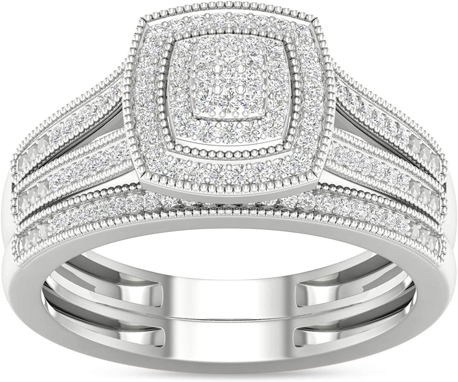 1 Minneapolis Mall 4ct TDW Diamond Cluster Halo Bridal in Silver Tampa Mall Set I-J Sterling