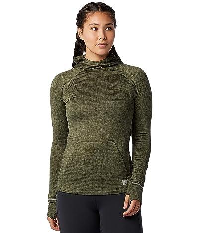 New Balance Heat Grid Hoodie (Nettle Green Heather) Women
