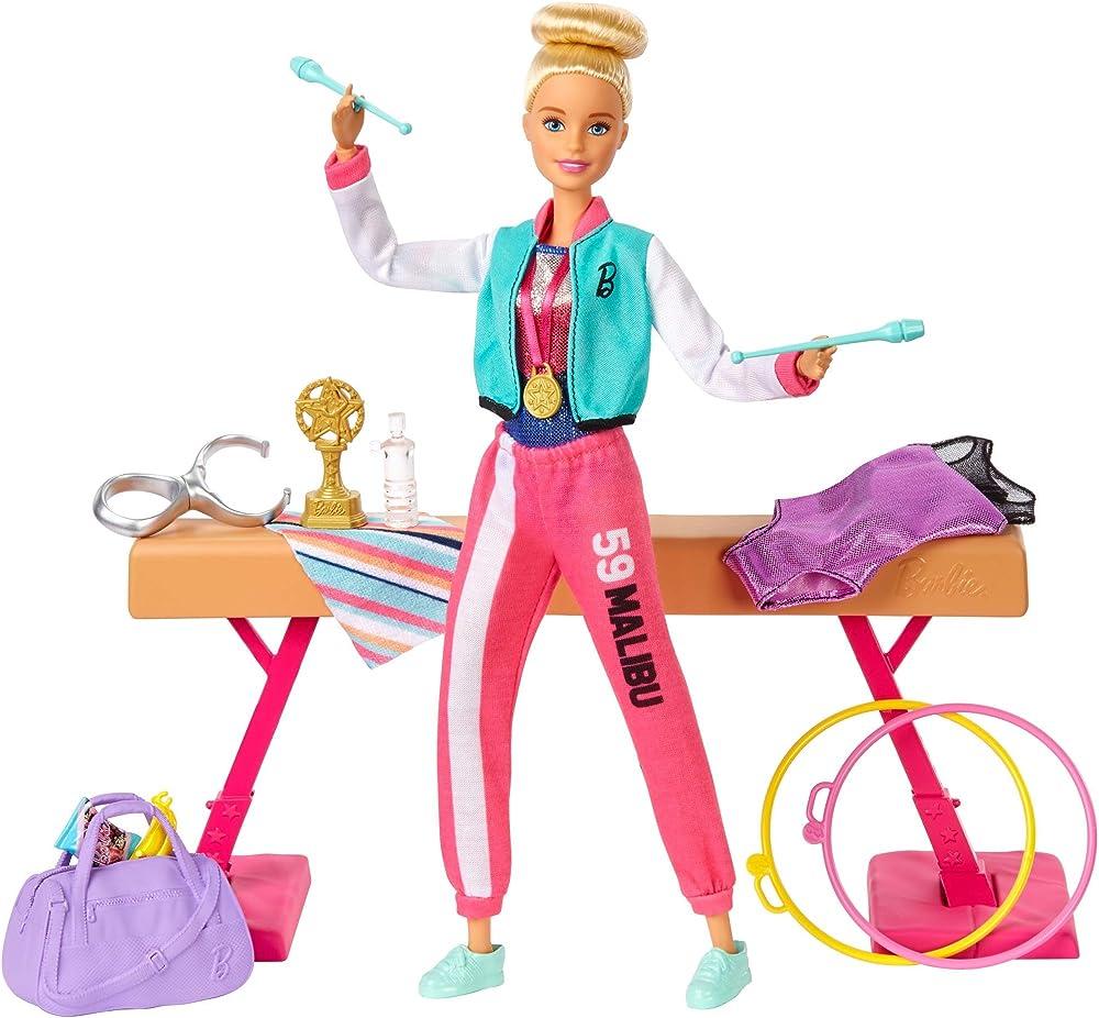 Barbie playset ginnasta bambola snodabile con bilanciere e accessori giocattolo per bambini 3+ anni GJM72