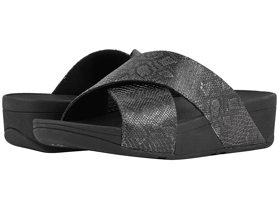FitFlop Lulu Python Print Slide Sandals (Black) Women