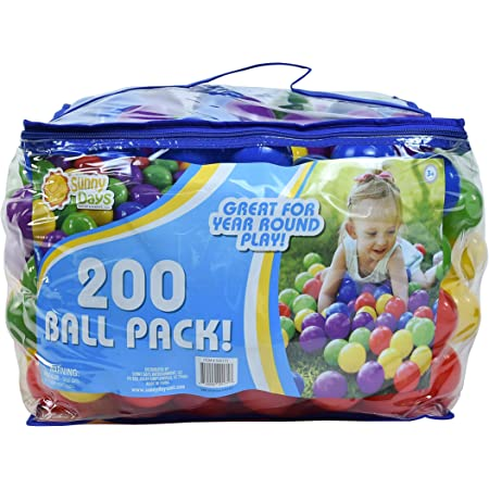 Sunny Days Entertainment 200 Ball Pack – Phthalate and BPA Free Crush Proof Plastic Balls Play Ball Pit in Assorted Colors, Model:320171
