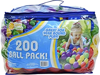 Sunny Days Entertainment 200 Ball Pack � Phthalate and BPA Free Crush Proof Plastic Balls Play Ball Pit in Assorted Colors, Model:320171