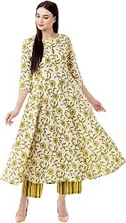 Gulmohar Jaipur Women's Flared Cotton Printed Kurta Pant Set (Green)