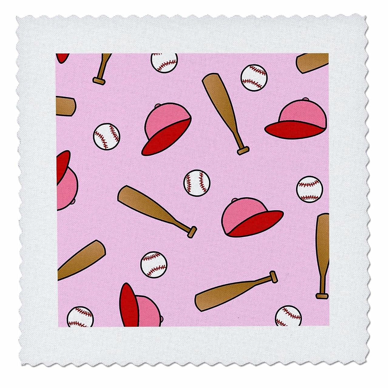 3dRose qs_40947_2 Cute Softball/Baseball Print Pink Quilt Square, 6 by 6-Inch