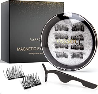Vassoul Dual Natural Half Magnetic Eyelashes, Accent Lashes, 0.2mm Ultra Thin Magnet, Ultra Lightweight & Easy to Wear, Be...
