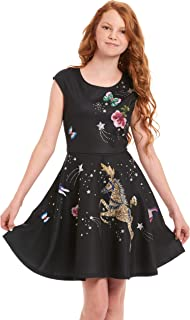 Big and Little Girls' Skater Scuba Dress with One-of-A-Kind Artwork and Rhinestone Embellishments, Size 4-6X, 7-16