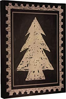 Clever Creations Christmas Tree Light Up Canvas Wall Hanging Postage Stamp Design | Bright LEDs | Festive Holiday Décor | Attached Hanging Mount | Measures 12