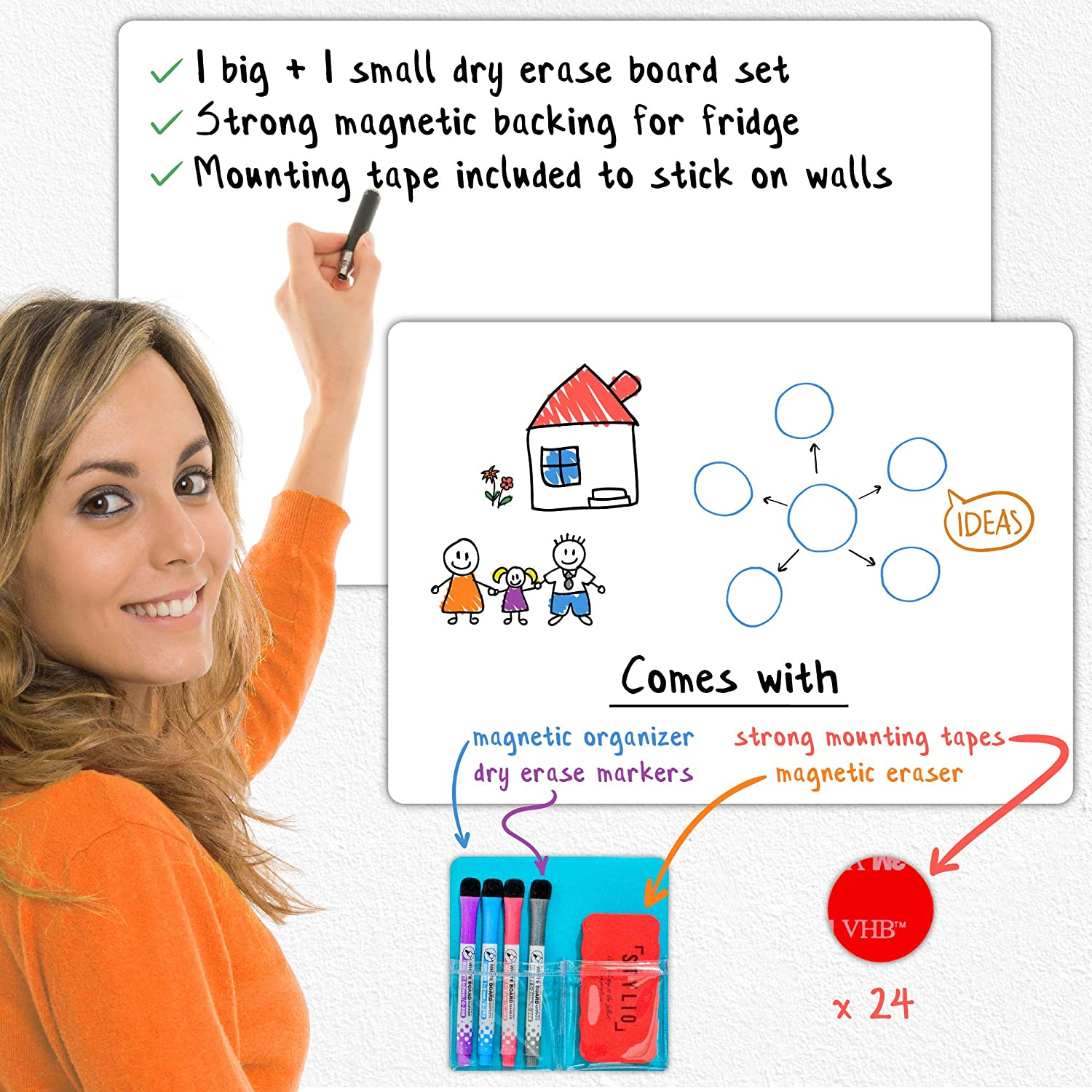 STYLIO Magnetic Dry Erase White B Board Large Set: Credence Popular Small