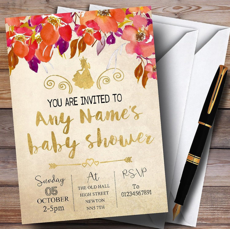 Autumn gold Princess Invitations Baby Shower Invitations