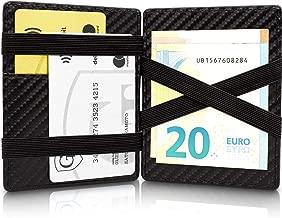 GenTo® Magic Wallet Vegas - TÜV geprüfter RFID, NFC Schutz - Dünne Geldbörse mit Münzfach - Geschenk für Damen und Herren mit Geschenkbox - erhältlich in 8 Farben | Design Germany (Carbon)