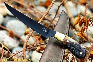 (28 5/18) DKC-612 Black STAG Fishing Filet Knife Hunting Handmade Knife Fixed Blade 8.5 oz 11