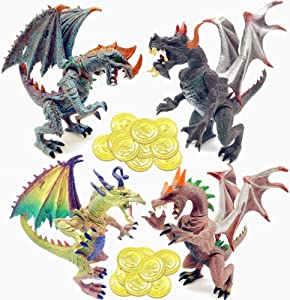 Guaishou Ancient Dragon Knight 4pcs Action Figure with Gold Coin 20PCS
