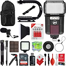 Circuit City CC-125 Automatic Universal Flash w/LED Video Light for Canon DSLR Cameras Bundle with Opteka VM-8 Directional Mini-Shotgun Microphone for Cameras & Camcorders & Accessories (17 Items)