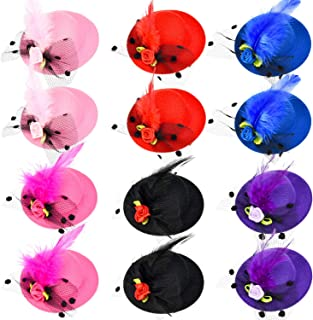 Patelai 12 Pieces Girl Hair Clip Mini Hat Fascinator Hair Clip with Ribbon Flowers Faux Feather Mesh Bow Barrette Hairpin for Girls Toddler Costume Accessory, 6 Colors