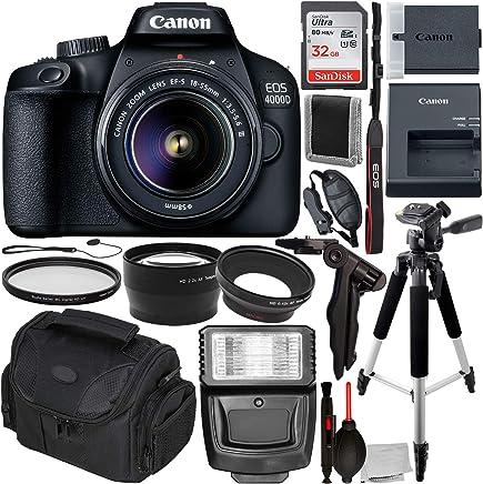 Canon EOS 4000D DSLR cámara con lente de 0.709-2.165in III y accesorios esenciales - Incluye: SanDisk Ultra 32GB SDHC tarjeta de memoria + lente gran angular fijación + Telephoto lente fijación + más