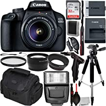 Canon EOS 4000D DSLR Camera with 18-55mm III Lens & Essentials Accessory Bundle – Includes: SanDisk Ultra 32GB SDHC Memory Card + Wide Angle Lens Attachment + Telephoto Lens Attachment + More