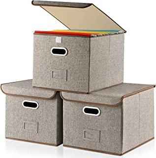 """Large Storage File Box With Lid [3-Pack] Collapsible Linen Fabric Storage Filing Box Organizer Decorative,Letter Legal Size,Gray,Office(15""""L x 12.2""""W x 10.75""""H)"""