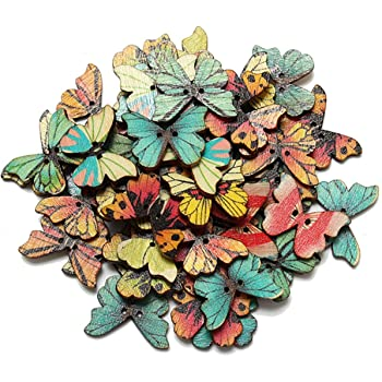 Mix Color 100pcs Flower Leafs Butterfly Wood Buttons Sewing DIY Crafts NK115