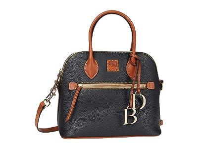 Dooney & Bourke Pebble II Domed Satchel (Black/Brandy Trim) Satchel Handbags
