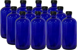 12 Pack 16 Ounce Boston Round Glass Bottles with cap (Cobalt Blue)