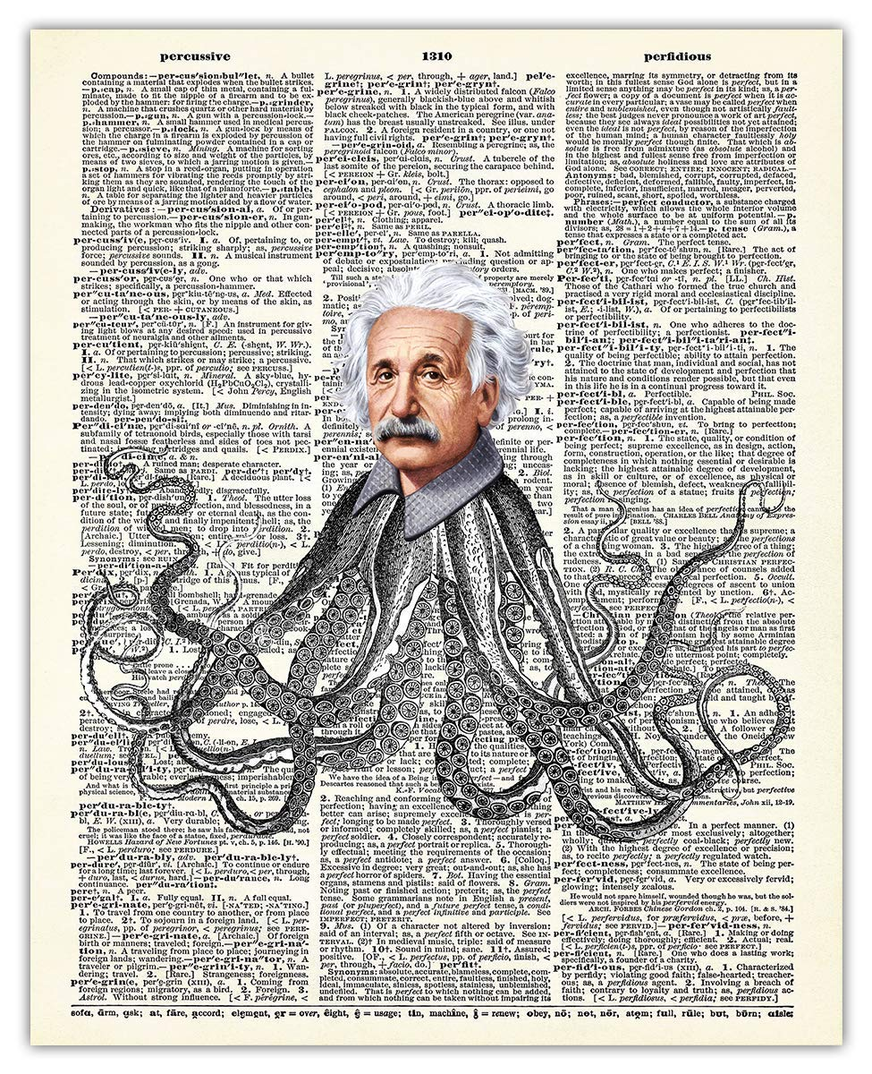 Whimsical Albert Einstein Octopus Dictionary sale Max 66% OFF Uni Print: Wall Art