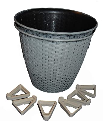 "Bert' Garden 10"" Woven Wicker Looking Plastic Pots 2 Pack with Feet (Grey Harbor)"