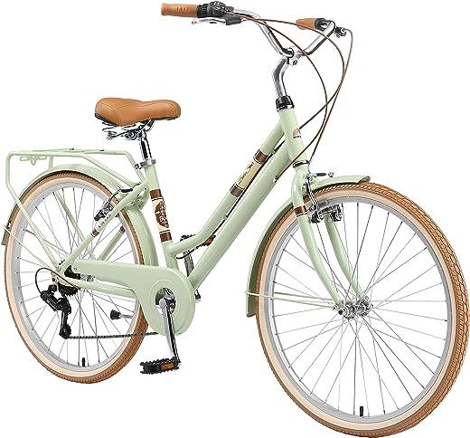 BIKESTAR Alu City Stadt Fahrrad 26, 28 Zoll | 16, 18 Zoll Rahmen, 7 Gang Shimano Damen Rad, Hollandrad Retro Bike mit V-Bremse und Gepäckträger |…
