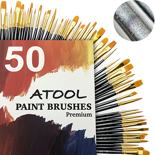 Paint Brush Set Premium Nylon Hair Brushes For Acrylic Oil Watercolor Painting Artist Professional Painting Kits Upgraded Galaxy Black 50 Pcs 5 Pack