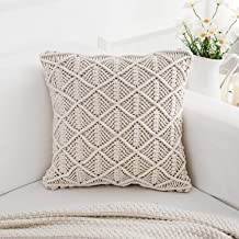 """famibay Knitted Pilllow Covers, Decorative Cotton Knitted Pillow Case Cushion Cover Double-Cable Knitting Patterns Soft Warm Throw Pillow Covers 18"""" x 18"""" 18""""x18"""""""