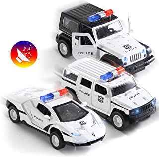 Top Race Metal Diecast Police Cars Pull Back Battery Powered with Led Headlights and Sirens 1:32 Scale Set of 3