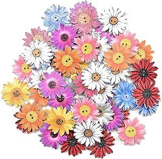 kissral Boutons 50 pièces 25mm Fleurs en Bois Boutons Mixte Beau Mignon Mode Aléatoire Chrysanthème en Bois pour Décoratif...