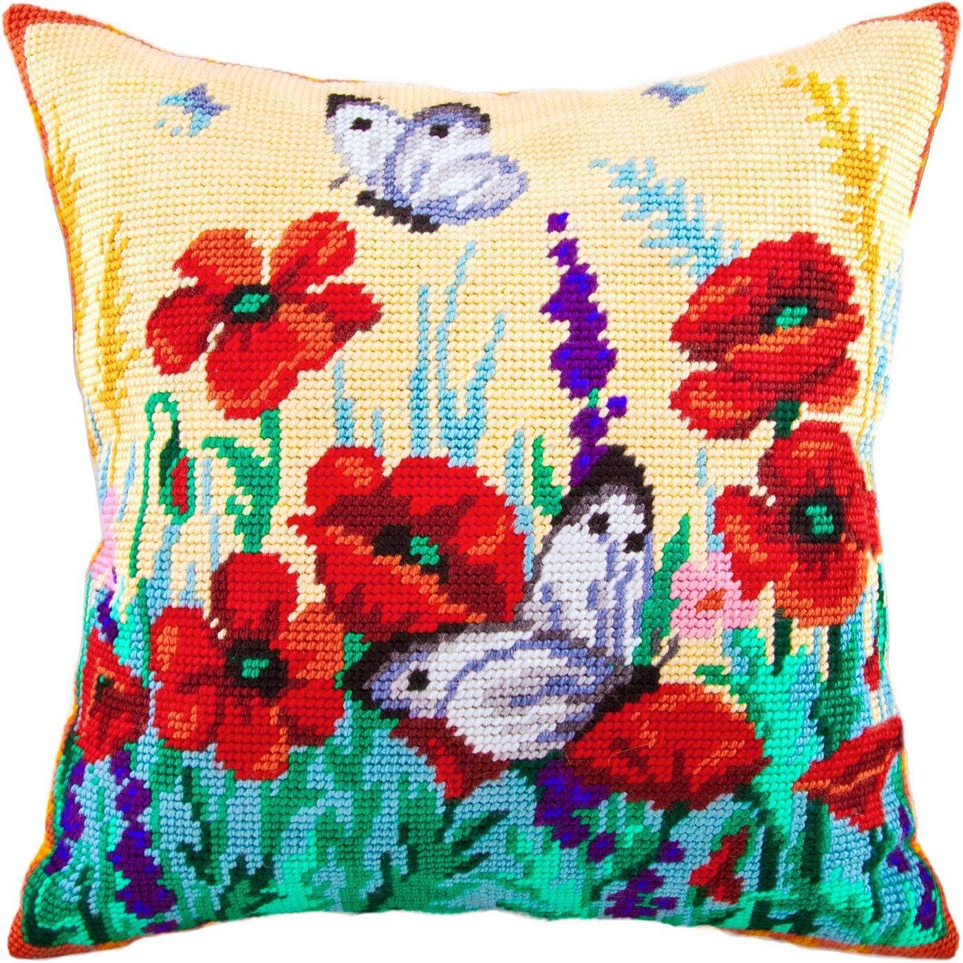 Large Whites on Poppies. Needlepoint Kit. マート 安心の実績 高価 買取 強化中 16×16 Inc Pillow Throw