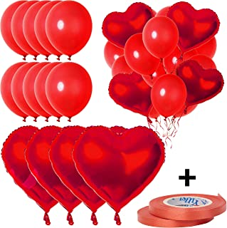 14 Pcs Red Balloons Set   10 Red Metallic Balloons 12 Inch 4 Heart Red Foil Balloons 18 Inch 2 Ribbons   Ideal Wedding Decor, Birthday Decorations, Baby Shower, or Engagement Party Decorations  
