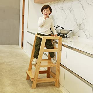 SDADI Kids Step Stools Kitchen Standing Tower Mothers' Helper, Natural LT06N