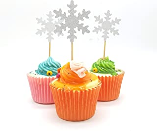 Frozen Winter Snowflake Cupcake Topper Double Sided Glitter Silver Decoration 2 Inches Wide by 5 Inches Tall, Pack of 18