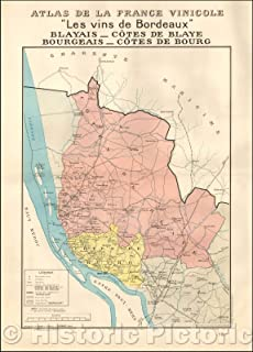 Historic Map - Les vins de Bordeaux Blayais - Cotes de Blaye Bourgeais - Cote de Bourg :: Bordeaux Regional Maps, French Wine Country, 1941, Louis Larmat - Vintage Wall Art 44in x 61in