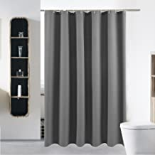 S·Lattye Extra Long Fabric Shower Curtain or Liner Set for Bathroom Washable Waterproof Cloth Polyester (Best Hotel Quality Friendly) with Curved Plastic Hooks - 72