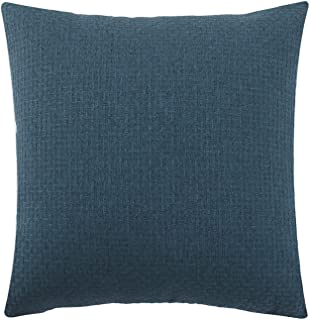 Jepeak Comfy Cotton Linen Throw Pillow Cover Rattan Weaved Pattern Cushion Case, Solid Thickened Farmhouse Modern Decorative Square Pillow Case for Sofa Couch Bed (Dark Blue, 16 x 16 Inches)