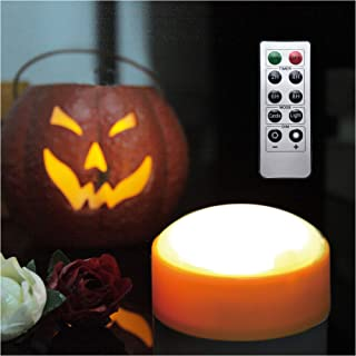 LED Pumpkin Lights with Remote and Timer, Battery Operated Bright Flickering Flameless Candles for Pumpkin Decor, Jack-O-Lantern Halloween Party Decorations,Orange Color