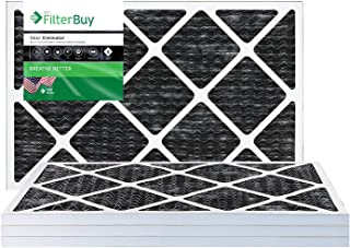FilterBuy Allergen Odor Eliminator 16x24x1 MERV 8 Pleated AC Furnace Air Filter with Activated Carbon - Pack of 4-16x24x1