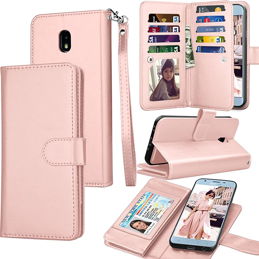 Tekcoo Compatible For Galaxy J7 2018 / Samsung J7 Aero/J7 Top/J7 Crown/J7 Aura/J7 Refine/J7 Eon Wallet Case, Luxury ID Credit Card Slots Holder PU Leather Carrying Folio Flip Cover Kickstand Rose Gold