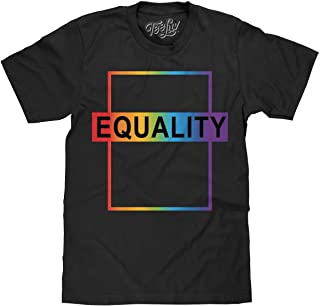 Tee Luv Equality T-Shirt - LGBT Rainbow Graphic Tee Shirt (Black)