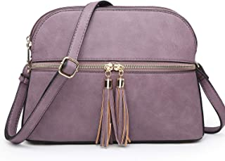 Functional Multi Zipper Pockets Lightweight Medium Crossbody Bags Purses for Women Travel Shoulder Messenger Bag With Tassel