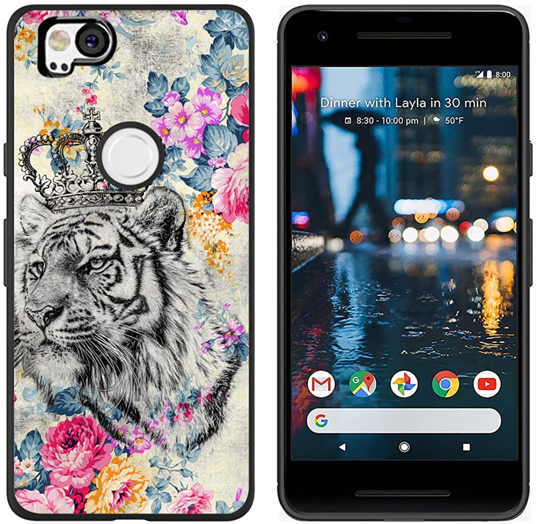 Pixel 2 Case Tiger Design - CCLOT Protective Cover Compatible for Google Pixel 2 Cover Protective Beautiful Cool Tiger Animal Flower Design (TPU Protective Silicone Bumper Skin)