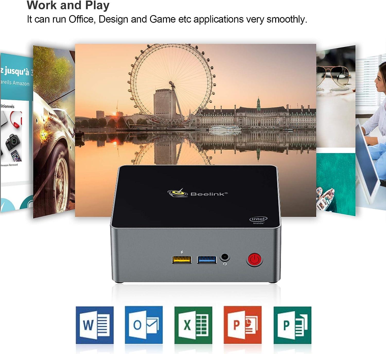 Auto Power On 64-bit Mini PC Dual Band Wi-Fi Beelink J34 Windows 10 Mini Desktop Computer with Dual HDMI 4K 8GB//128GB SSD Intel Celeron J3455 Processor Gigabit Ethernet up to 2.3GHz