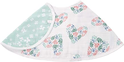 """aden by aden + anais Burpy Bib, 100% Cotton Muslin, Soft Absorbent 4 Layers, Multi-Use Burp Cloth and Bib, 22.5"""" X 11"""", Single, Briar Rose - Floral Heart"""