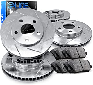 For 2010-2014 Toyota FJ Cruiser R1 Concepts eLine Front Rear Slotted Brake Rotors Kit + Semi-Met Pads
