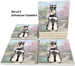 Schnauzer Coasters - Moisture Absorbing Stone Coasters with Cork Base, Prevent Furniture from Dirty and Scratched, Stone Coasters set Suitable for Kinds of Mugs and Cups, Set of 4