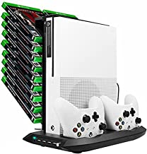 D DACCKIT Vertical Stand with Cooling Fan Compatible with Xbox One S, Dual Controller Charging Station with Game Discs Storage Tower Mounts for Xbox One Slim Console